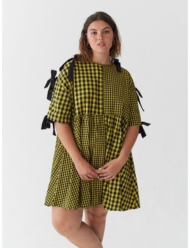 Lazy Oaf Yellow Tie Sleeve Smock Dress by Lazy Oaf