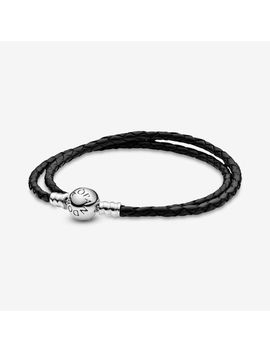 Moments Black Double Woven Leather Bracelet by Pandora