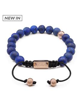 Lapis Lazuli Stone Bead Bracelet   Premium by Rose Gold & Black