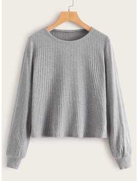 Heathered Gray Rib Knit Tee by Romwe
