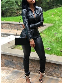 Black Pockets Single Breasted Pu Leather Two Piece Casual Long Jumpsuit by Cichic