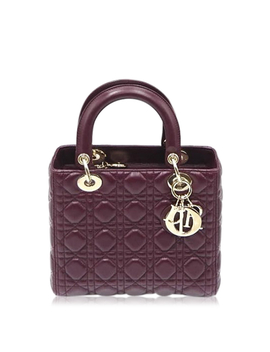 Christian Dior Lady Dior Cannage 2way Shoulder Hand Bag Lambskin Bordeaux A 9969 by Dior