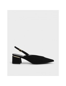 V Cut Block Heel Slingback Heels by Charles & Keith