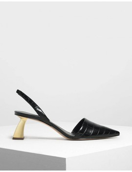 Sculptural Heel Slingback Court Shoes by Charles & Keith