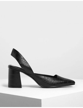 Croc Effect Square Toe Block Heels by Charles & Keith