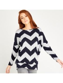 Navy Chevron Round Neck Top by Apricot