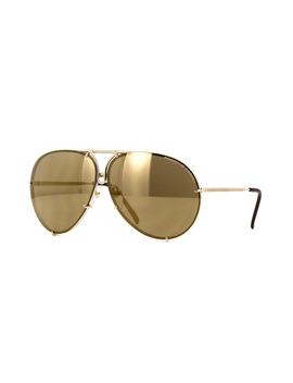 Porsche Design 8478 A 'gold Edit' Gold Frame With Flash Gold Lenses (Plus Brown And Blue Spare Lenses) by Porsche Sunglasses