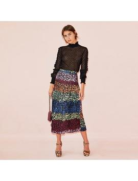 Multi Beatrice Leopard Skirt by Never Fully Dressed