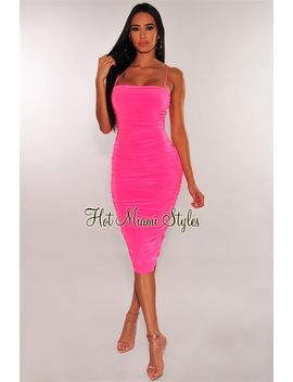 Neon Pink Spaghetti Straps Ruched Dress by Hot Miami Style