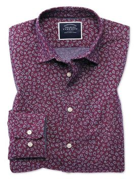 Slim Fit Leaf Print Berry Chambray Shirt by Charles Tyrwhitt