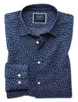 Slim Fit Leaf Print Blue Chambray Shirt by Charles Tyrwhitt