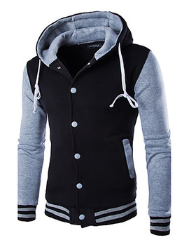 Men's Active Long Sleeve Hoodie   Color Block Hooded Wine M / Winter  #06208558 by Lightinthebox
