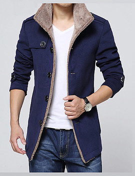 Men's Daily Basic Winter Regular Jacket, Solid Colored Shirt Collar Long Sleeve Faux Fur / Polyester Black / Navy Blue / Khaki / Slim  #03858228 by Lightinthebox