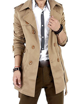 Men's Going Out / Weekend Fall / Winter Long Trench Coat, Solid Colored Shirt Collar Long Sleeve Cotton / Polyester Oversized Black / Khaki / Slim  #06507014 by Lightinthebox