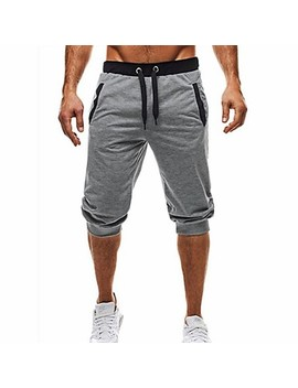 Men's Basic / Street Chic Daily Sports Holiday Chinos / Shorts Pants   Color Block Black & Gray, Patchwork / Drawstring Summer Fall Black Dark Gray Light Gray L Xl Xxl / Beach  #07241264 by Lightinthebox