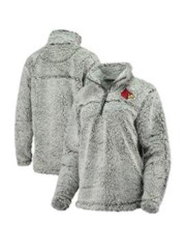 Louisville Cardinals Women's Sherpa Super Soft Quarter Zip Pullover Jacket   Gray by Boxercraft