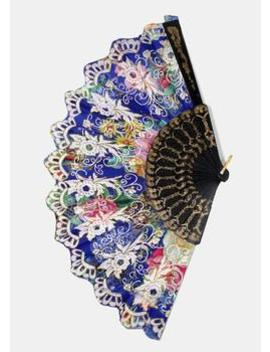 Multi Glitter Design Floral Print Fans by Miss A