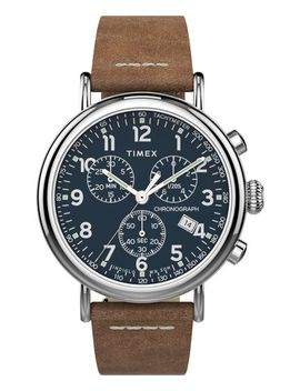Timex® Standard Chronograph 41mm Leather Strap Watch by Timex