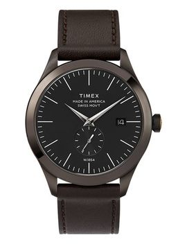 American Documents® 41mm Leather Strap Watch by Timex