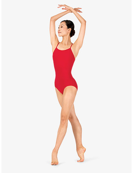 Womens Plus Size Sueded Cotton X Back Camisole Leotard by Discount Dance Supply
