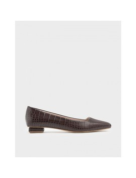 Croc Effect Square Toe Ballerina Flats by Charles & Keith