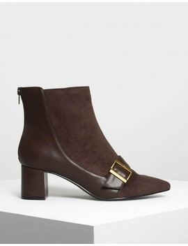 Buckle Detail Ankle Boots by Charles & Keith