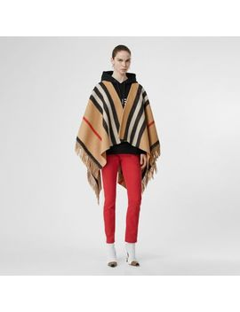 Striped Wool Cape by Burberry
