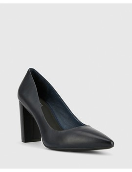 Hether Navy Leather Pointed Toe Block Heel by Wittner