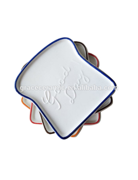 Good Day Ceramic Breakfast Bread Shaped Serving Plate Toast Tray With Embossed by Grace