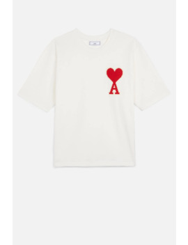T Shirt With Big Ami Coeur Patch by Ami Paris