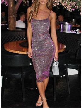 Purple Sequin Glitter Sparkly Spaghetti Strap Bedazzled Bodycon Homecoming Party Midi Dress by Cichic
