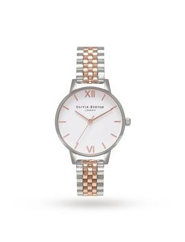 Olivia Burton Midi White Dial Rose Gold & Silver Bracelet Watch by Goldsmiths
