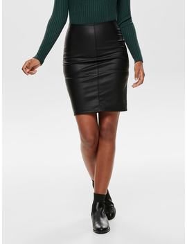 Leather Look Midi Skirt by Only