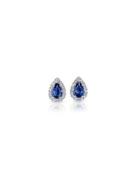 Pear Shaped Sapphire Stud Earrings With Diamond Halo In 14k White Gold (5x4mm) by Blue Nile