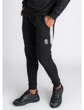 Gk Core Plus Contrast Tracksuit Bottoms   Black/Dark Grey/Silver Grey by The Gym King