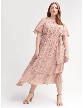 Maxi Dress With Bardot Neckline And Floral Print by Penningtons