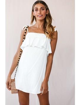 West Braid Detail Ruffle Bust Dress White by Selfie Leslie