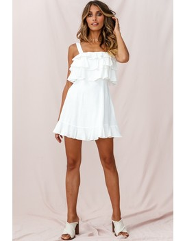 Lucille Tiered Ruffle A Line Dress White by Selfie Leslie