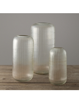Handblown Carved Glass Vase   Clear by Restoration Hardware