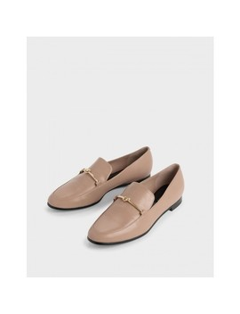 Metallic Knot Accent Loafers by Charles & Keith