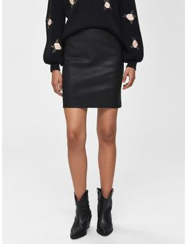 Lamb Stretch   Leather Skirt by Selected