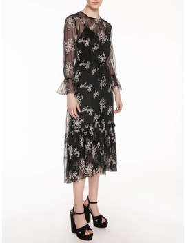 Embroidered Floral Midi Dress by Veronika Maine
