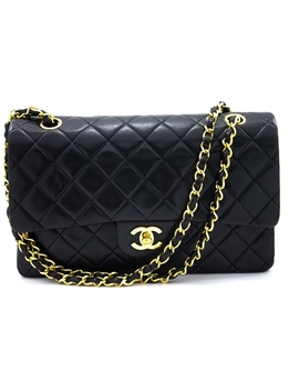 "Chanel 2.55 Double Flap 10"" Chain Shoulder Bag Black Quilted Lamb by Chanel"