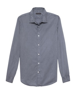 Untucked Slim Fit Cotton Shirt by Banana Republic
