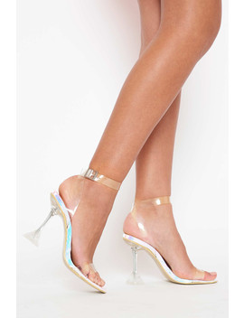 Nis Strappy Perspex Heels In Silver Iridescent Vegan Leather by Luxe To Kill