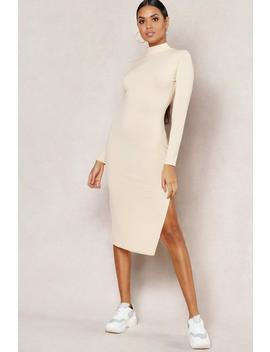 Jumbo Rib High Neck Split Midi Dress by Boohoo