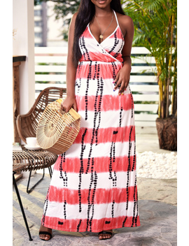 Lovely Casual V Neck Printed Backless Pink Floor Length Beach Dress by Lovely Wholesale