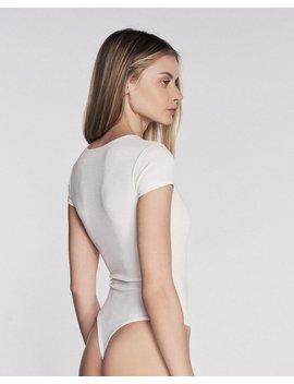 Dani V Neck Ribbed Body Suit In Ivory White by Marissa Webb