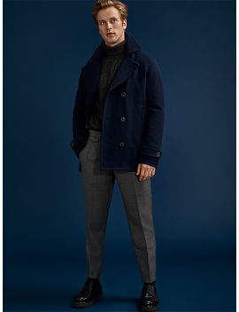 Pea Coat   Jacketcable Knit   Turtleneckcropped Slim   Trouserscrepe Sole   Derby Shoes by Selected