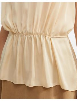 Light Charmeuse Shirred Tank by Theory